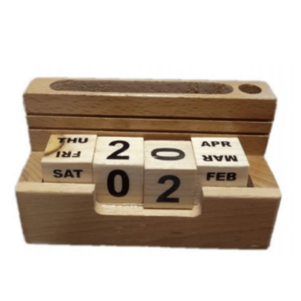 Wooden Pen Stand With Calender