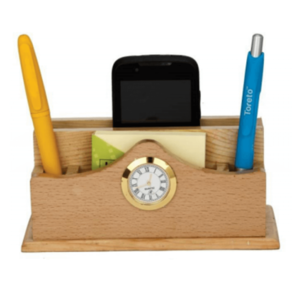 Wooden Pen Stand With Clock And Card & Mobile Holder