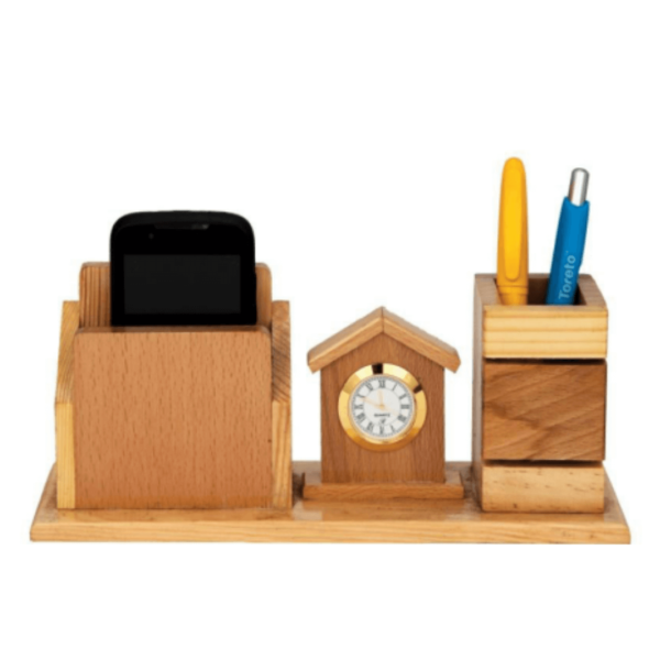 Wooden Pen Stand With Clock And Mobile Holder