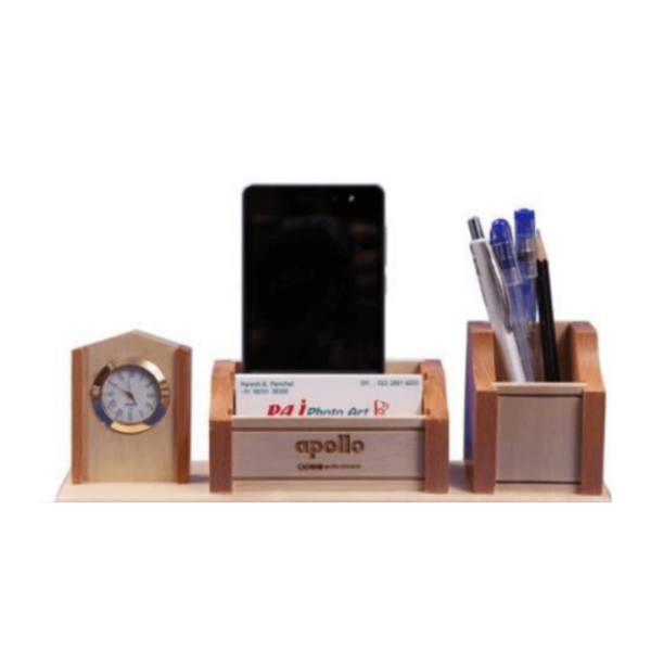 Pen stand with Clock and card holder