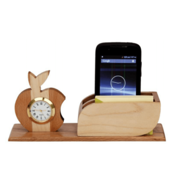 Wooden Pen Stand With Clock And Card Holder