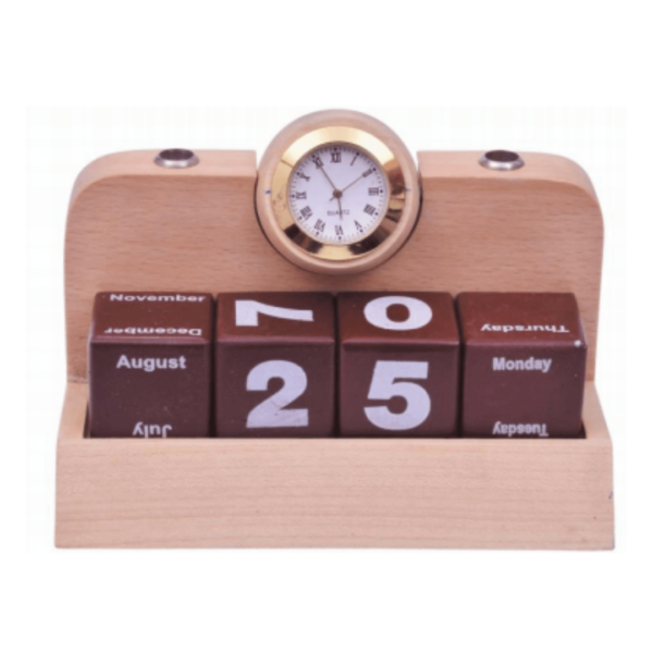 Wooden Pen Stand With Clock And Calender